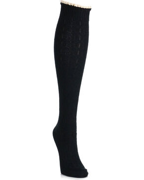 K. Bell Women's Black Random Feed Cable Knee High Socks , Black, hi-res