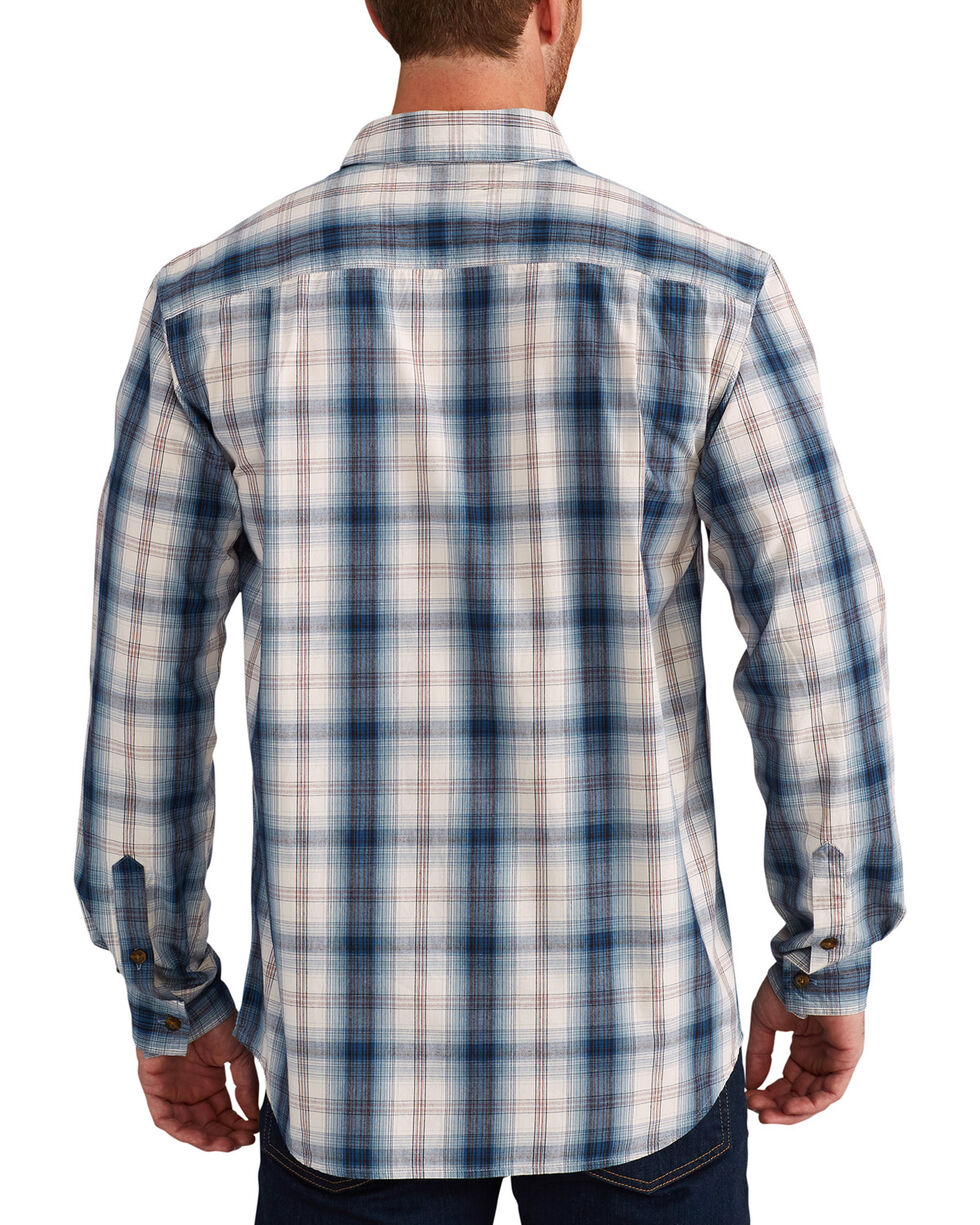 Carhartt Men's Blue Essential Plaid Button Down Long Sleeve Shirt , Blue, hi-res