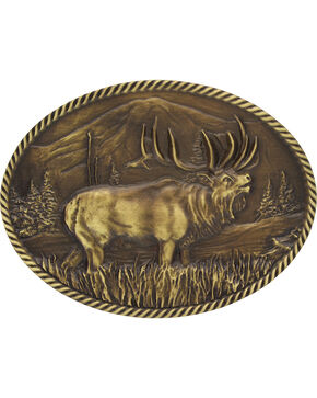 Montana Silversmiths Wild Elk Belt Buckle, Gold, hi-res