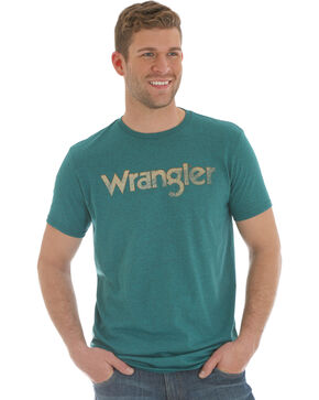 Wrangler Men's Pepper Heather Distressed Logo Tee , Heather Blue, hi-res
