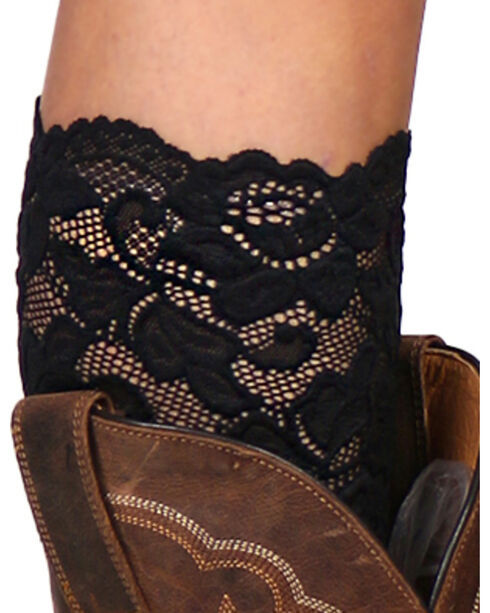 Shyanne Women's Lace Stretch Boot Cuffs, Black, hi-res