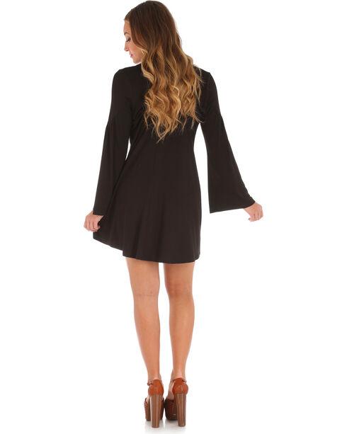 Wrangler Women's Choker Neckline Long Sleeve Dress, Black, hi-res