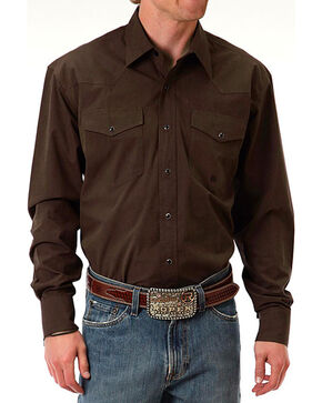 Roper Men's Amarillo Poplin Long Sleeve Shirt, Brown, hi-res
