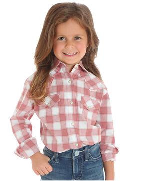 Wrangler Girls' Pink Classic Plaid Shirt , Pink, hi-res