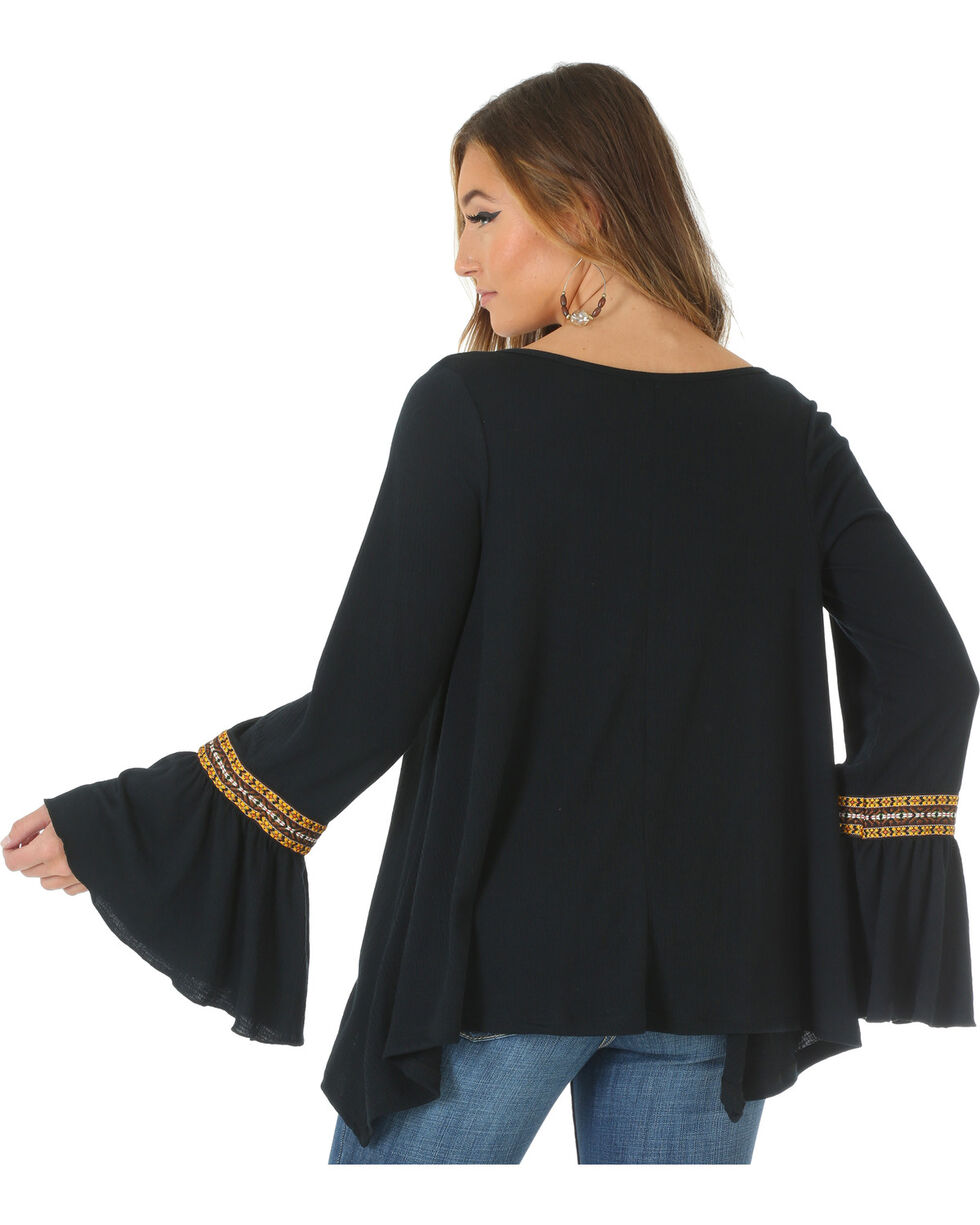Wrangler Women's Peasant Top with Ruffle Sleeves, , hi-res