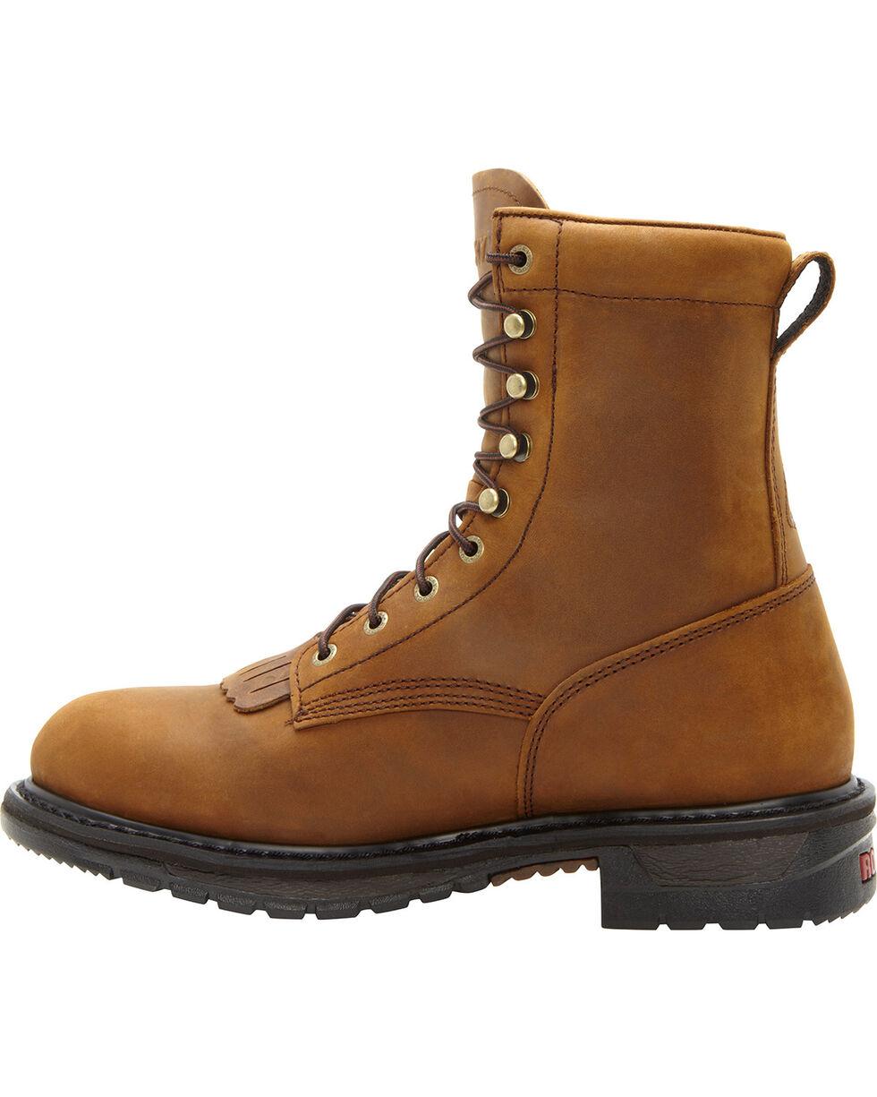 "Rocky Men's Ride Lacer Waterproof 8"" Western Boots, Brown, hi-res"