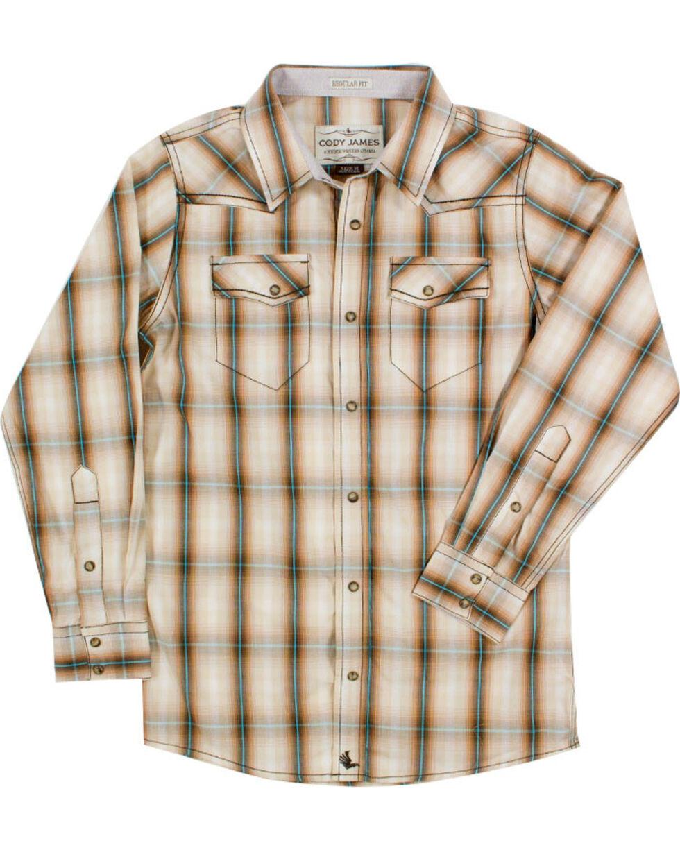 Cody James® Boys' Plaid Long Sleeve Shirt, Brown, hi-res