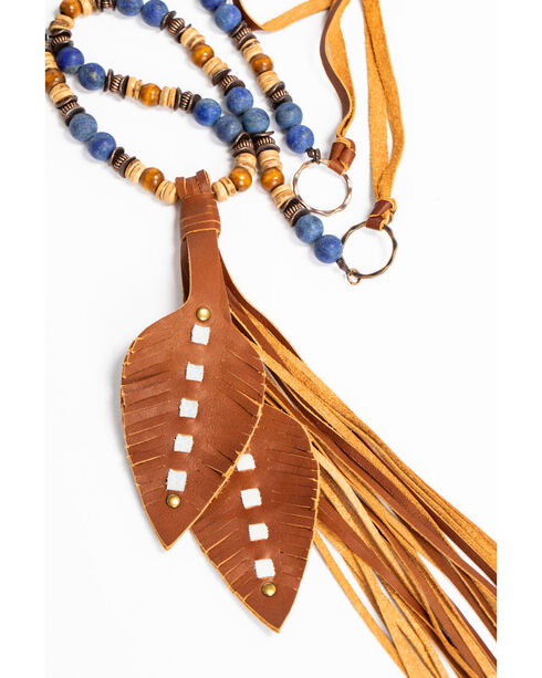 Jewelry Junkie Women's Frosted Blue Lapis Necklace with Wrapped Leather Tassel, Blue, hi-res