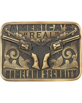 Cody James® America's Real Homeland Security Belt Buckle, Brass, hi-res
