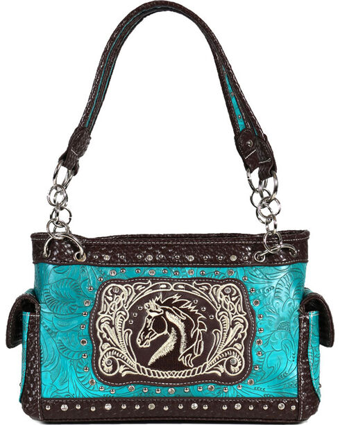 Savana Women's Horse and Floral Embossed Handbag, Turquoise, hi-res