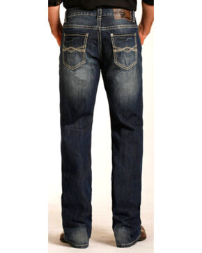 Rock & Roll Cowboy Men's Abstract Embroidery Double Barrel Straight Leg Jeans, Indigo, hi-res