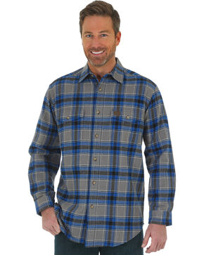 Wrangler Men's Royal Blue Riggs Workwear Flannel Work Shirt , Royal Blue, hi-res