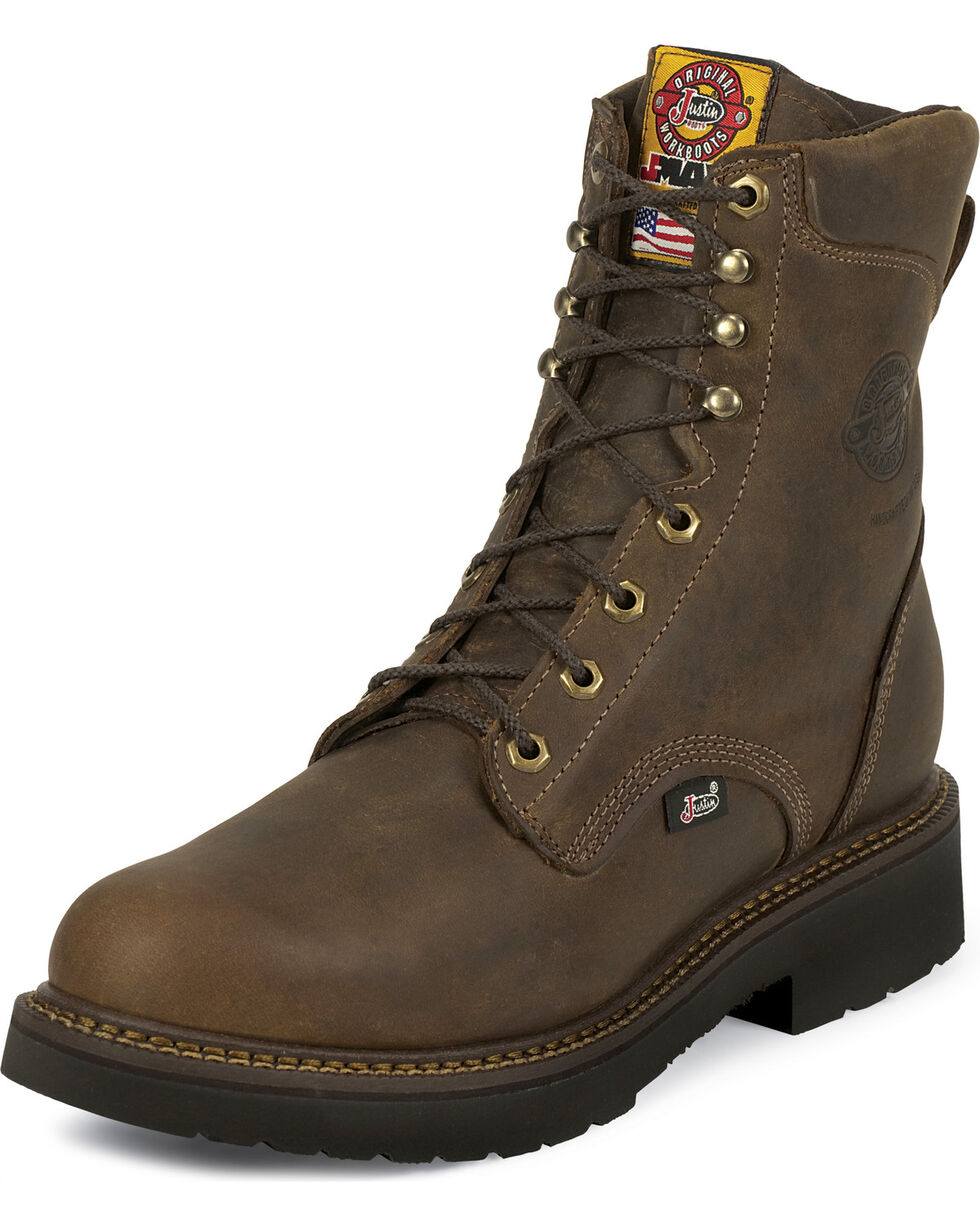 "Justin Men's J-Max Rugged Gaucho 8"" Lace-Up Work Boots, Brown, hi-res"