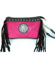 Savana Women's Pink Tooled Crossbody/Wristlet with Fringe, , hi-res