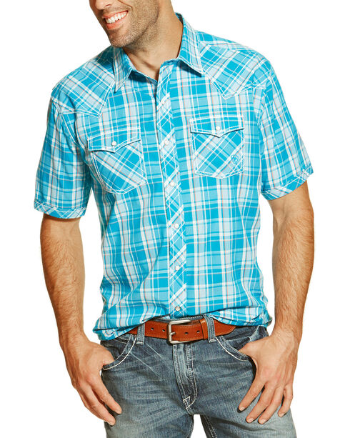 Ariat Men's Elton Plaid Short Sleeve Western Shirt, Blue, hi-res