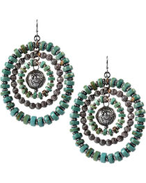Treska Women's Cowtown Beaded Rings Pierced Earrings, , hi-res