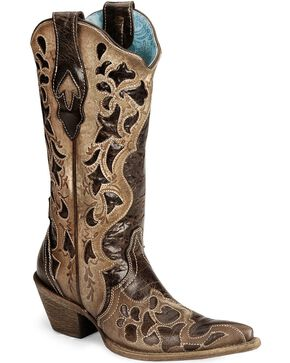Corral Women's Tooled Western Boots, Chocolate, hi-res