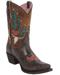 Junk Gypsy by Lane Light Brown Bramble Rose Western Boots - Snip Toe , , hi-res