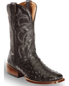 El Dorado Men's Full Quill Ostrich Stockman Boots - Square Toe, Black, hi-res