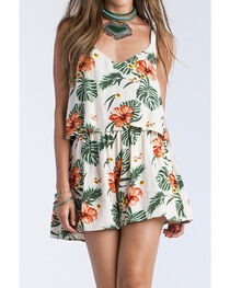 Miss Me Women's Floral Printed Two-Tiered Romper, , hi-res