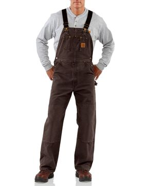 Carhartt Men's Sandstone Bib Overalls, Dark Brown, hi-res