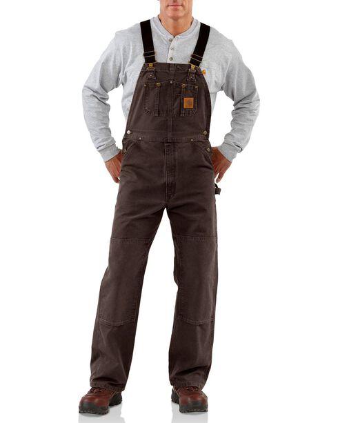 Carhartt Men's Sandstone Bib Overalls, Dark Brown, hi-res
