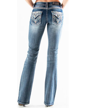 Grace in LA Women's Medium Blue Embellished Button Pocket Jeans - Boot Cut , Medium Blue, hi-res