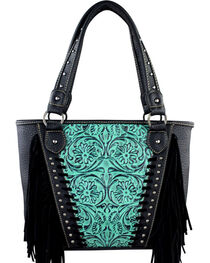 Montana West Trinity Ranch Turquoise Tooled Design Concealed Handgun Collection Handbag with Fringe, , hi-res