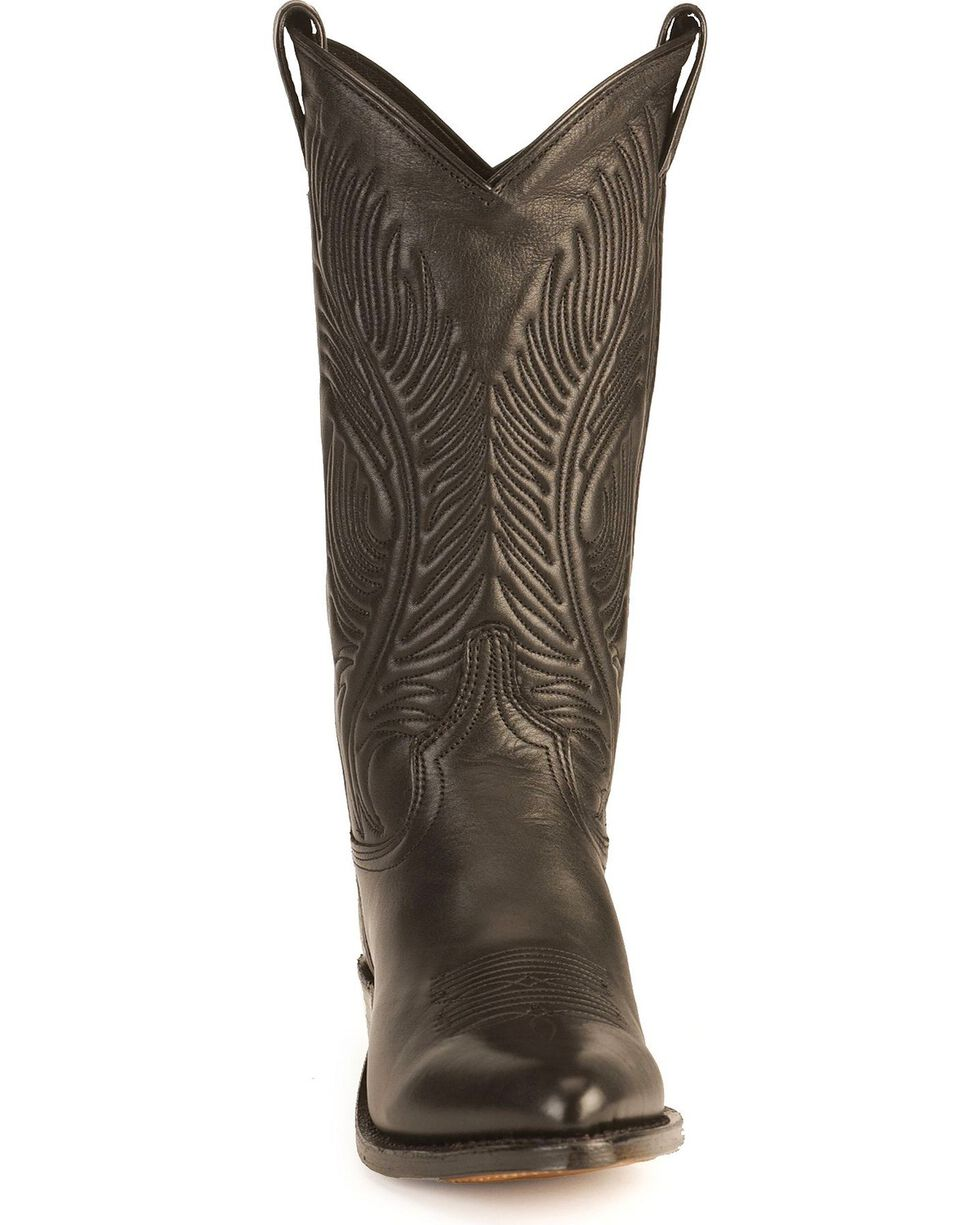 "Abilene Women's 11"" Tooled Feather Western Boots, Black, hi-res"