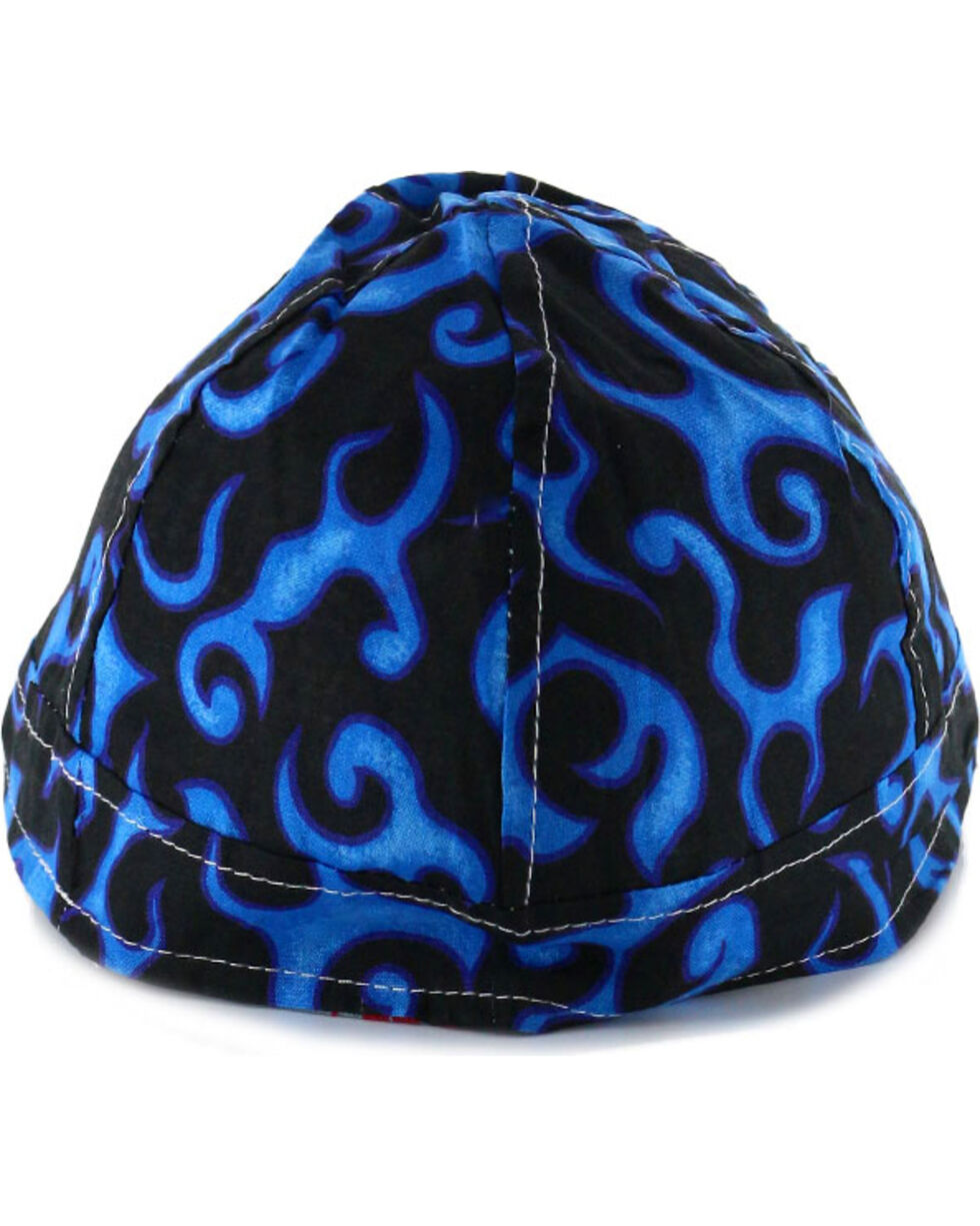 American Worker Men's Flames Welding Cap, Blue, hi-res