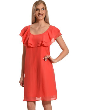 Harlow & Rose Women's Criss Cross Ruffle Dress , Coral, hi-res