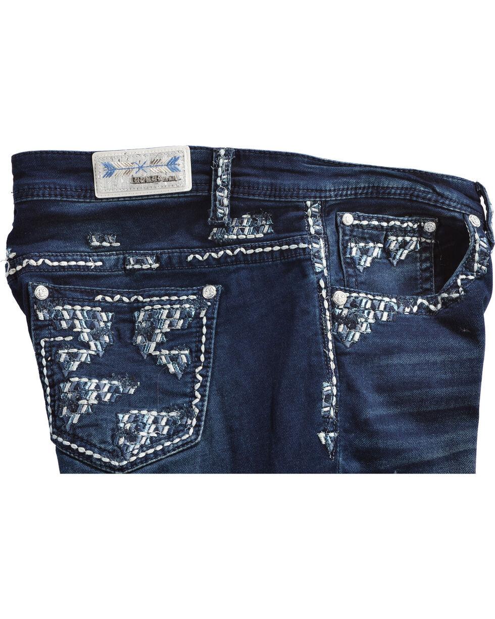 Grace in LA Women's Blue Aztec Straight Leg Jeans - Plus , Blue, hi-res