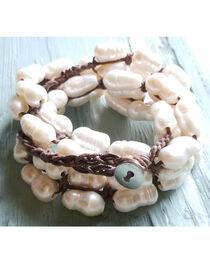 Jewelry Junkie Women's Woven Freshwater Pear Bracelet , , hi-res