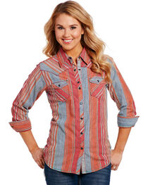 Cowgirl Up Women's Red Serape Pattern Shirt , , hi-res