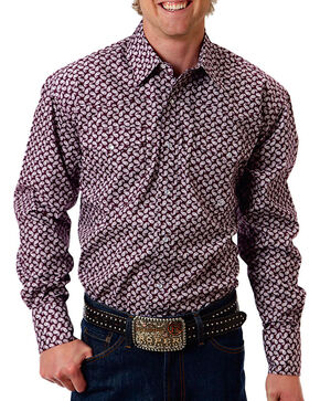 Roper Men's Mini Paisley Long Sleeve Shirt, Purple, hi-res