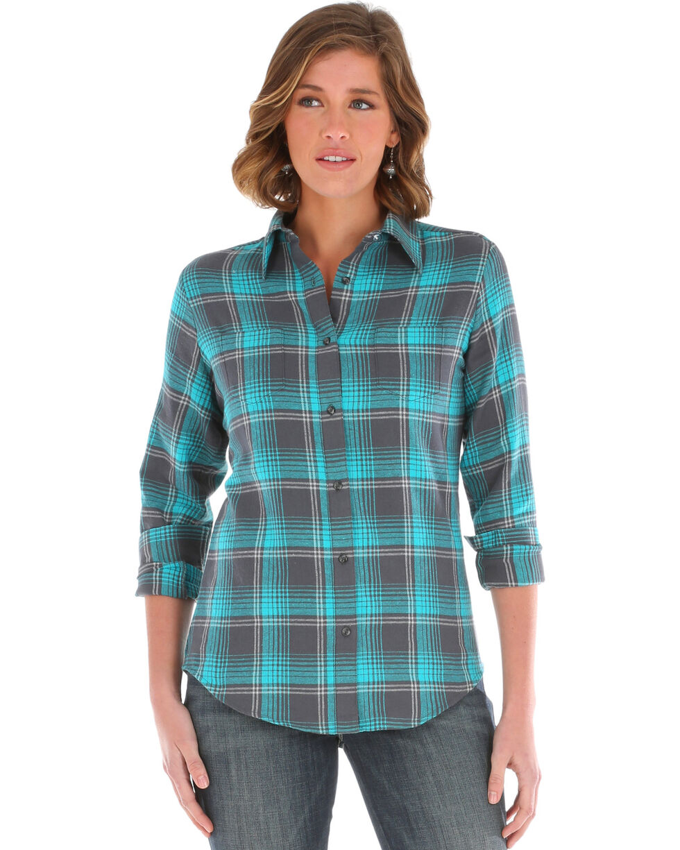 Wrangler Women's Turquoise As Real As Plaid Top , , hi-res