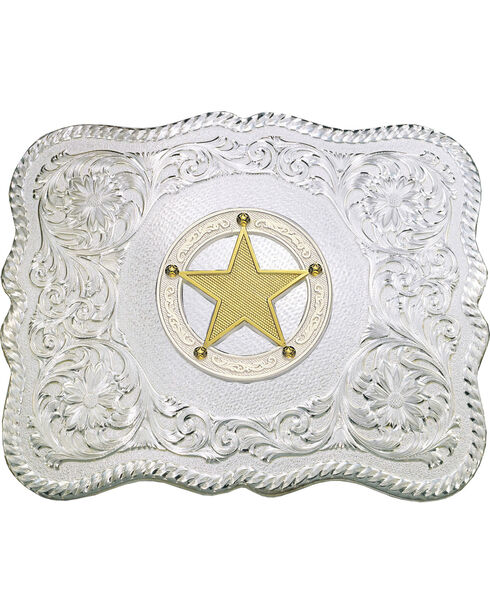 Montana Silversmiths Scalloped Sheriff Star Belt Buckle, Silver, hi-res