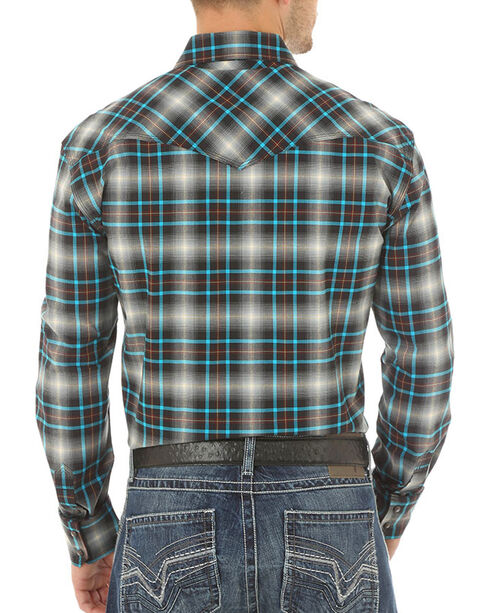 Wrangler 20X Advanced Comfort Plaid Western Long Sleeve Shirt, Blue, hi-res