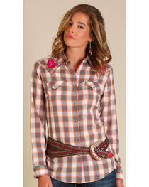 Wrangler Women's Grey Embroidered Yoke Long Sleeve Shirt, , hi-res