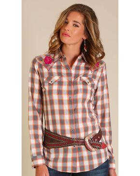 Wrangler Women's Grey Embroidered Yoke Long Sleeve Shirt, Grey, hi-res