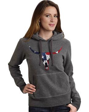 Roper Women's Americana Steer Hoodie, Grey, hi-res