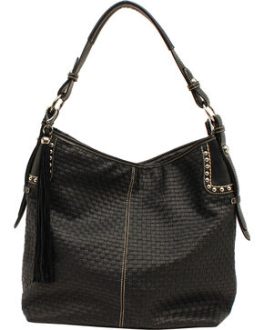 Blazin' Roxx Women's Basketweave Hobo Bag, Black, hi-res