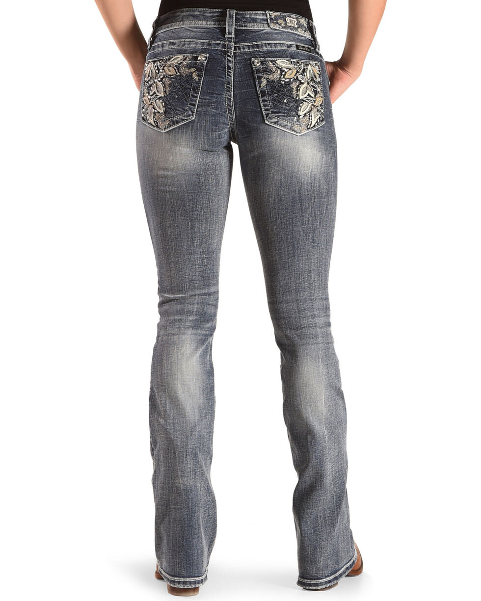"""Miss Me Women's Floral Embroidered Boot Cut Jeans - 34"""" Inseam, , hi-res"""