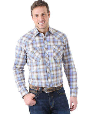 Wrangler 20X Plaid Competition Long Sleeve Shirt, Brn Plaid, hi-res