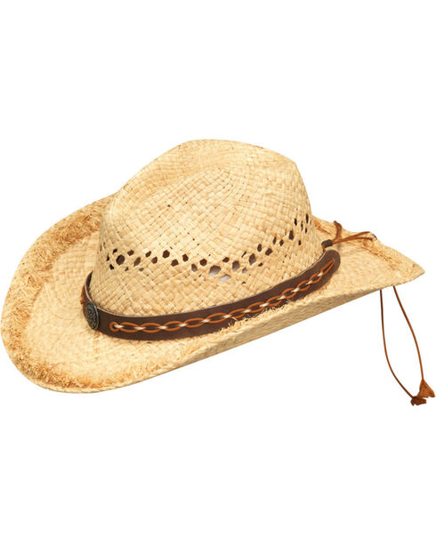 Blazin Roxx Women's Natural Metal Pin Raffia Hat , Natural, hi-res