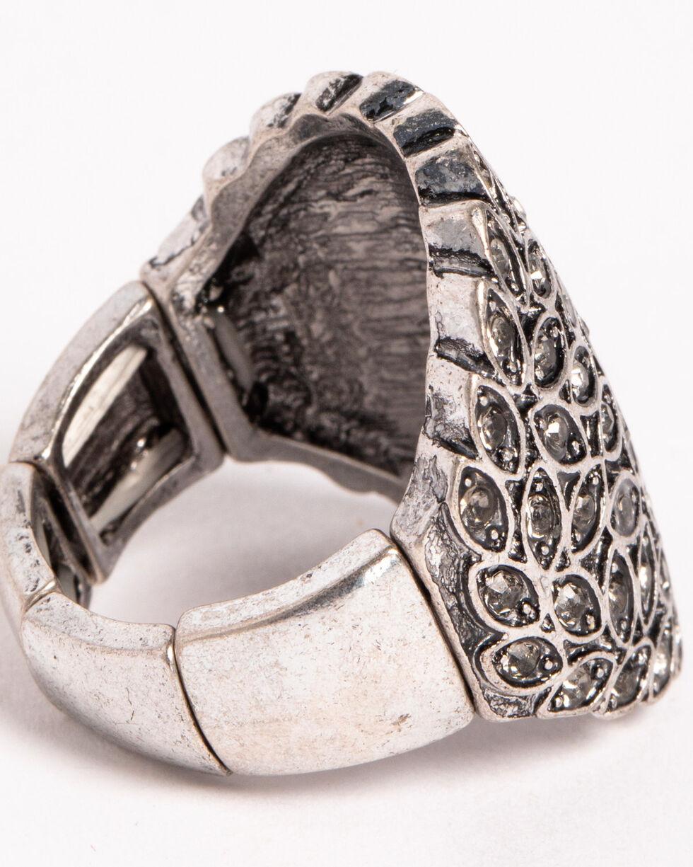 Shyanne® Women's Leaflet Rhinestone Ring, Silver, hi-res