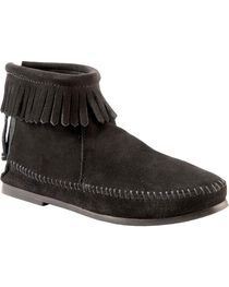 Women's Minnetonka Suede Back Zipper Moccasin Boots, , hi-res