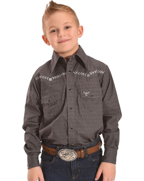 Cowboy Hardware Boys' Diamond Print Bronco Long Sleeve Snap Shirt, Dark Grey, hi-res