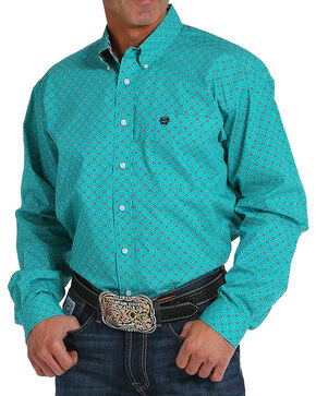 Cinch Men's Teal Printed Long Sleeve Shirt , Teal, hi-res