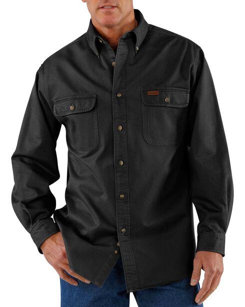 Carhartt Sandstone Twill Work Shirt, Black, hi-res